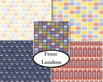 Bundle, 5 prints, From London with Love, Vicky Yorke, Camelot Fabrics, 100% Cotton, quilt cotton