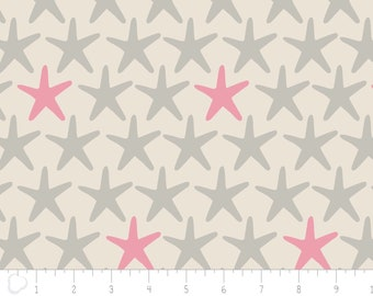 END OF BOLT, Star, Beach House, 4141804, Camelot Cotton, sea star, coral, gray, 100% Cotton
