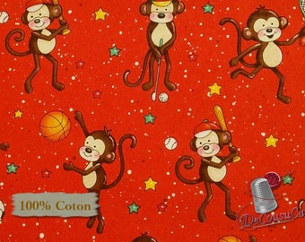 Monkey, red, Good Sports, Henry Glass & Co, multiple quantity cut in 1 piece, 100% Cotton