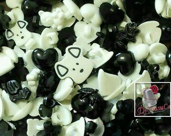 25 Fancy buttons, Black and White, dog, turtle, tulip, cherry, frog, bear, boat, heart, etc., BF60,