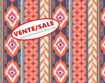 50%, Amira, orange, violet, ivory, 27170102, Camelot Fabrics, (Reg 3.76-21.91)
