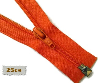 "SEPARABLE, 25cm, (10""), Orange, Zipper, 7E Slider, Vintage, 1980, ZS01"