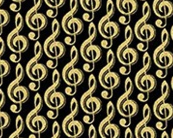 Musical Note, gold metallic,  black, Metallic Mixers, Benartex, CM7722, cotton, cotton quilt, cotton designer