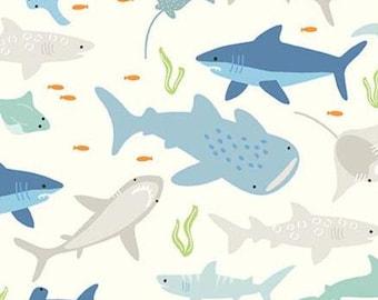 Sharks, Cream, Riptide, 10300, Riley Blake, cotton quilt, cotton designer, (Reg 3.76-21.91)