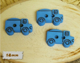 3 Buttons, Truck, Royal Blue, 18mm, Fancy Button, BF16, Fancy Button, 1980, Vintage, Casein