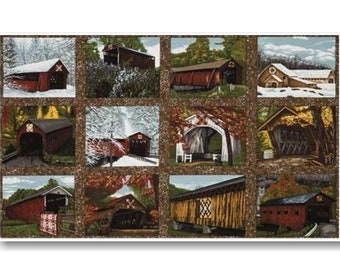 "Panel, Quilt Barns, Bridges, 24""X44"", (60cmX115cm), Troy Corporation, Riverwoods Collection, Multiple quantity cut in one piece, 100% Cotton"