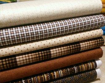 Bundle of 7 prints, Quilt Cotton, 1 of each print