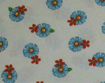Blue flower, white, Quilting Treasures, multiple quantity cut in one piece, 100% Cotton