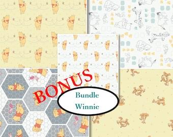 Bundle, 5 prints, Winnie, Camelot Fabrics, 100% Cotton, quilt cotton