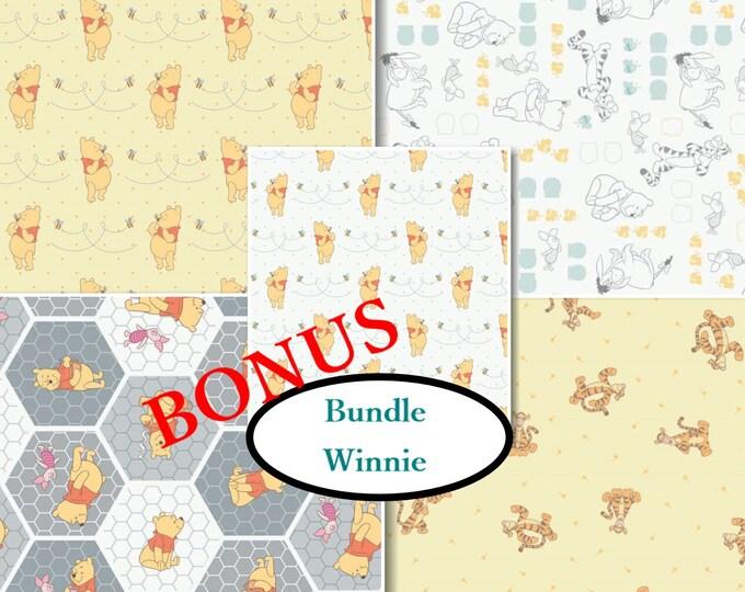Featured listing image: Bundle, 5 prints, Winnie, Camelot Fabrics, 100% Cotton, quilt cotton