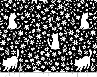 Cat, black, white,  21170107, col 2, Camelot Fabrics, multiple quantity cut in one piece, 100% Cotton, (Reg 2.99 - 17.99)