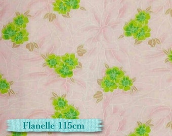 ON SALE, Flannel, Flower green, pink,