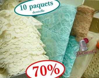 70%, kit 10 lace, SURPRISE, simple, pleated, decorative, colors and widths varied, 10 different lace, excellent bargain