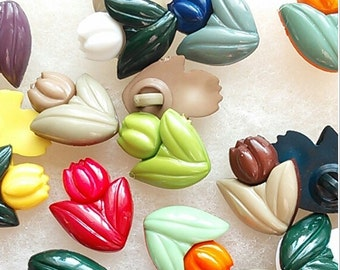 12 Buttons, 19mm, Tulip, plastic, colors mixtes, vintage,