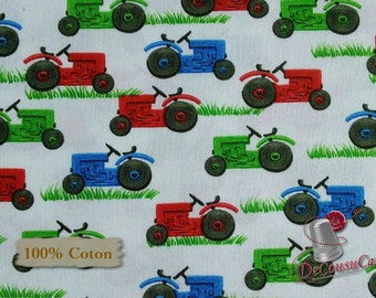 Tractor, white, Farm Life, Kate Mawdsley, 1186, Henry Glass & Co, multiple quantity cut in 1 piece, 100% Cotton