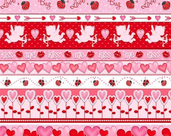 Novelty Stripe, Love Struck, 1367-28, by Shelly Comiskey, Simply Shelly Designs, Henry Glass & Co, 100% Cotton