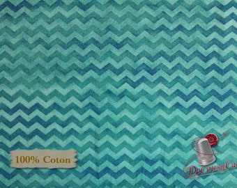 Chevron, turquoise, Red Rooster, multiple quantity cut in one piece, 100% Cotton