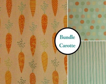 Bundle, 3 prints, Carrot, quilt cotton, cotton designer, 100% cotton