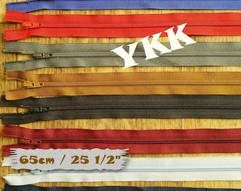 YKK, 65cm, zipper, #3, (25 1/2 inchs), vintage, 1980, varied color, nylon, perfect for clothing, repair, creation, Z63, (Reg 1.80-14.40)