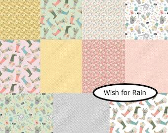 Bundle 11 FQ, Wish for Rain, Camelot Fabrics, 100% coton