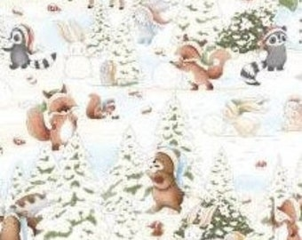 Snowman, teddy bear, squirrel, fox, Snow Day, 7549, Timeless Treasures