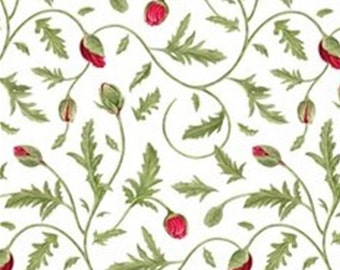 White, Red, Poppy Perfection, Janes's Garden, Henry Glass & Co, 100% Cotton