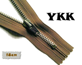 YKK, 18cm, Dark beige, Zipper, Cursor 5, 7 Inch, Metal Slider, Zipper, Non-Detachable, vintage, 1980, Z16