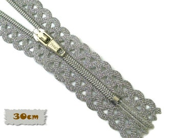 Vizzy, 30cm, Silver, Zippers, Metal Slider, No. 3, 12 Inch, Decorative Clasp, Non-Detachable