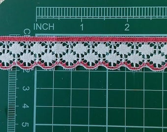 5 yards, Lace vintage, 19mm, 3/4 inch, White, red, (4.60 metre), DT11