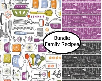 Bundle, 3 motifs, utensils, pots, cooking, Family Recipes, collection, assortment