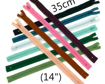 35cm, zipper, #3, 14 inchs, varied color, nylon, perfect for wallets, clothing, repair, creation, liquidation