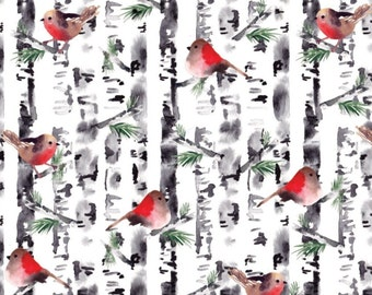 Birds, tree, 26180202J, col 01, Camelot Fabrics, 100% Cotton, (Reg 2.99-17.99)