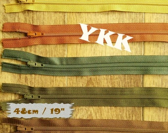 YKK, 48cm, 1 zipper, #3, 19 inchs, varied color, nylon, perfect for wallets, clothing, repair, creation, Z48
