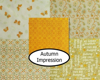 Bundle, 5 prints, Autumn Impressions, Camelot Fabrics, 100% cotton, butterfly, pumpkin,