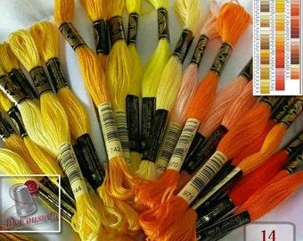 50%, Yellow, Orange, Brown, 10 Embroidery, thread, DMC, Mouliné 25, art 117 No. 25,