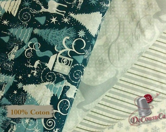 4 prints, 1 of each, ivory, gray.blue, Windham Fabrics, 100% Cotton