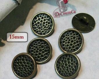 6 Buttons Martellé bronze, 15mm, metal button, sport button, vintage, BM128
