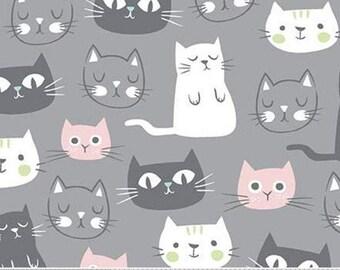 GRAY, Cat, Purrfect Day, 9900, Riley Blake, cotton quilt, cotton designer