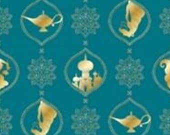 Aladdin, gold metallic, teal, 85101310L, col 02, Camelot Fabrics, cotton, cotton quilt, cotton designer