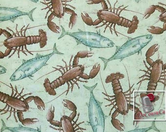 Lobster, fish, gray, brown, cream, Charlene Audrey for Quilting Treasues, (Reg 2.99-17.99)