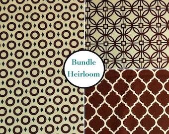 3 prints, Heirloom, Camelot Fabrics, Bundle, 1 of each print, 100% coton
