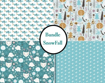 4 prints, Snow Fall, Camelot Fabric, tide, 1 of each print, (Reg 9.56-63.84)