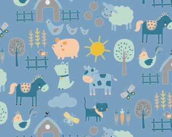 Animals in Light Blue, 21179913, 02, Cluck, Moo, Oink, Camelot Fabrics, 100% Cotton, quilt cotton