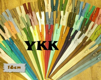 YKK, 54 Zippers, 18cm, 7 Inches, Different Colors, Non Removable, Nylon, Repair, Creation, Z18, (Reg 53.46)