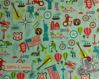 Coast to coast, blue, Michael Mullen, by Wild Apple, Windham Fabrics, multiple quantity cut in one piece, 100% Cotton