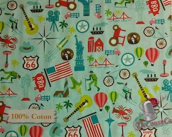 Coast to coast, blue, Michael Mullen, by Wild Apple, Windham Fabrics, multiple quantity cut in one piece, 100% Cotton,  (Reg 3.99 - 17.95)