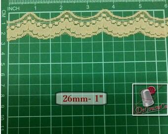 5 verges, Lace vintage, 26mm, 1 inch, beige, (4.60 mètres), DT18