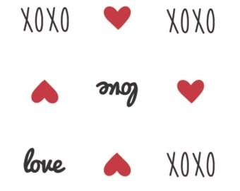 Love, XOXO, Small red heart, white background, XOXO, 21190703, col 01, Camelot Fabrics, cotton, cotton quilt, cotton designer