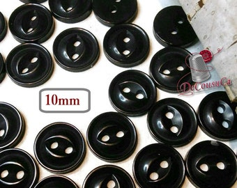 25 Buttons, 10mm, 4L, black, plastic, résin, BA52