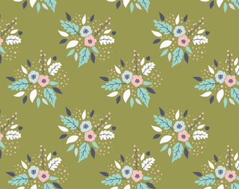 END OF BOLT, Meadow, Bouquet, 2144104, Camelot Fabrics, 100% Cotton, cactus